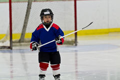 Little boy playing ice hockey in an arena Stock Image