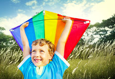 Little Boy Playing Kite Park Windy Concept Stock Photo
