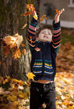 Little boy playing in leaves Stock Image