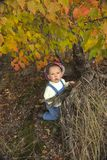 Little boy playing with leaves at autumn park. Dreaming little boy sitting under trees with red leaves in fall Stock Photos