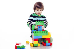 Little Boy Playing Lego Royalty Free Stock Images
