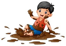 Little boy playing in the mud. Illustration of Little boy playing in the mud Stock Photo