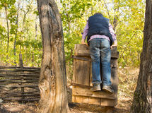 Little boy playing on an old rustic gate Stock Image