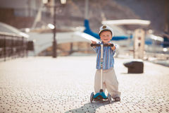 Little boy playing outdoor on the pier Stock Photography