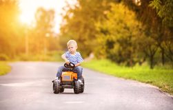 Little boy playing outside Royalty Free Stock Image