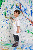 Little boy playing with painting Royalty Free Stock Images