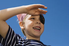 Little Boy Playing Pirate stock images