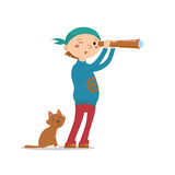Little boy playing pirates with cat, looking into handheld telescope royalty free illustration