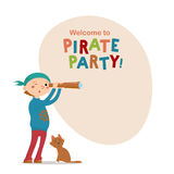 Little boy playing pirates with spy glass, cat and space for text Royalty Free Stock Photography