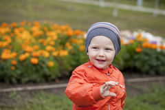 Little boy playing on the playground in the autumn park Royalty Free Stock Photo