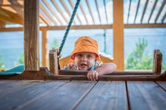 The little boy playing in the playground royalty free stock images