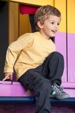 Little Boy Playing At Playhouse Stock Photos