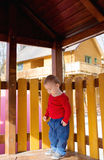 Little Boy Playing At Playhouse Royalty Free Stock Photos