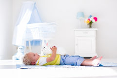 Little boy playing with rabbit pet Stock Image