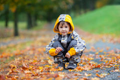 Little boy, playing in the rain in autumn park Stock Photography