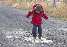Little Boy Playing In Rain Puddle Royalty Free Stock Photography
