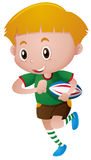 Little boy playing rugby stock illustration
