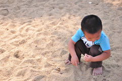 Little boy playing sand Royalty Free Stock Photography