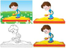 Little boy playing in a sandbox Royalty Free Stock Photo