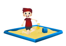 Little boy playing in a sandbox Royalty Free Stock Image