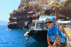 Little boy playing in Santorini Royalty Free Stock Photo