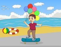 Little boy playing skate board on the beach cartoon. Full color Stock Image