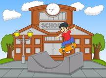Little boy playing skateboard at the school cartoon vector illustration Royalty Free Stock Image