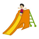 Little boy playing on a slide cartoon Royalty Free Stock Photo