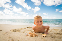 Little boy playing with a starfish on the beach Royalty Free Stock Photo