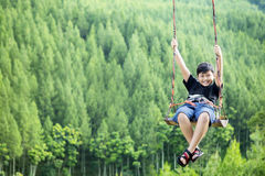 Little boy playing on a swing Royalty Free Stock Photo