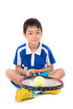Little boy playing tennis racket and tennis ball in hand Stock Images