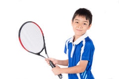Little boy playing tennis racket and tennis ball in hand Royalty Free Stock Photos