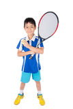 Little boy playing tennis racket and tennis ball in hand. On white background Stock Images