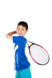 Little boy playing tennis racket and tennis ball in hand. On white background Royalty Free Stock Images