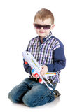 Little boy playing with toy airplane Royalty Free Stock Image