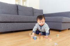 Little boy playing toy block Royalty Free Stock Photography