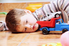 Little Boy Playing with Toy Car Close Royalty Free Stock Image