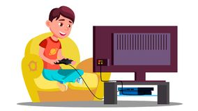 Little Boy Playing Video Games On The Couch Vector. Isolated Illustration stock illustration