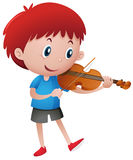 Little boy playing violin Stock Photo