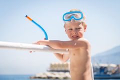 Little boy playing in the water Royalty Free Stock Image