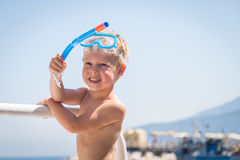 Little boy playing in the water Royalty Free Stock Images