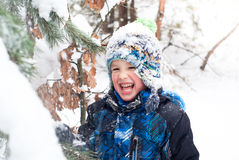 Little boy playing among winter firs Royalty Free Stock Photo