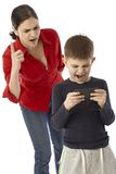 Little Boy Playing With Mother S PDA Royalty Free Stock Photo