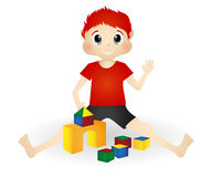 Little boy playing wooden toy blocks Royalty Free Stock Image