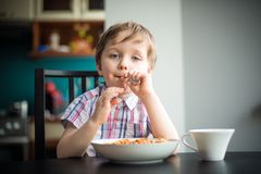 The little boy plays with a fork Stock Image