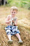 Little boy plays with a kitten Royalty Free Stock Images