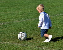 Little boy plays with a soccer ball_3 Stock Image