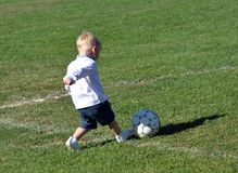 Little boy plays with a soccer ball_4 Stock Images