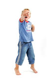 Little boy pointing. With his finger Stock Photography
