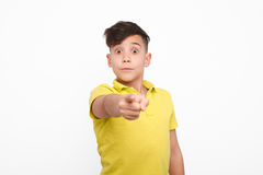 Little boy pointing at camera Royalty Free Stock Image